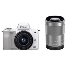 【キヤノン】 小型一眼カメラ 2本レンズキット(標準ズーム+望遠) 4K EOS(イオス) KISSM-WZK(WH) デジタル一眼カメラ