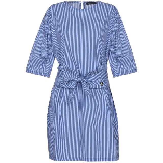 《期間限定 セール開催中》MANGANO レディース ミニワンピース&ドレス ブルー L 60% コットン 37% ナイロン 3% ポリウレタン