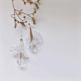 Marygo透明な3次元の大きな真珠のラインのイヤリング