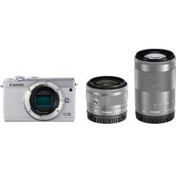 【キヤノン】 小型一眼カメラ 2本レンズキット(標準ズーム+望遠ズーム) EOS(イオス) EOSM100-WZK(WH) デジタル一眼カメラ