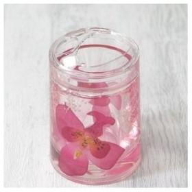 アクリル製歯ブラシスタンド/洗面所用具 〔ピンクオーキッド〕 造花【配達日時指定不可】