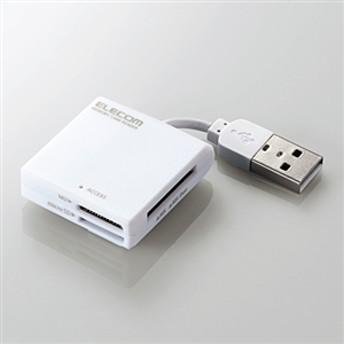 【エレコム】 リーダライタ/ケーブル固定/SD+MS対応 MR-K009WH メモリカードリーダ