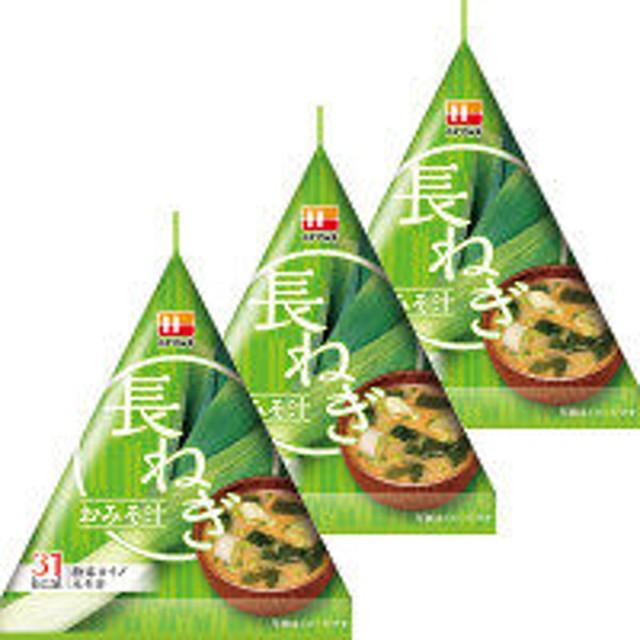 【ワゴンセール】ハナマルキ 三角パックごちそう具材 長ねぎのおみそ汁 3個