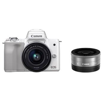 【キヤノン】 小型一眼カメラ 2本レンズキット(単焦点+標準ズーム) 4K EOS(イオス) KISSM-WLK(WH) デジタル一眼カメラ