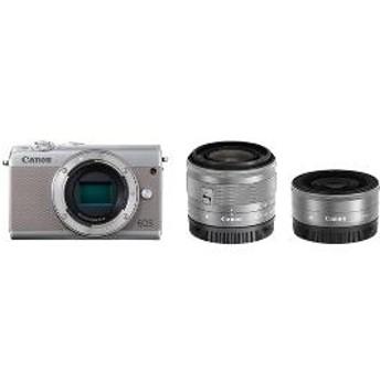 【キヤノン】 小型一眼カメラ 2本レンズキット(単焦点+標準ズーム) EOS(イオス) EOSM100-WLK(GY) デジタル一眼カメラ