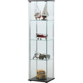 ガラス製 コレクションケース/ショーケース 〔4段〕 ブラウン 幅42.5cm 硝子製棚板2枚 脚付き 〔什器 店舗〕〔代引不可〕【配達日時指定不可】