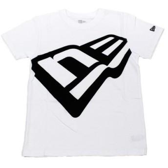 ニューエラ(NEW ERA) コットン Tシャツ ズームアップフラッグロゴ ホワイト×ブラック 11783102 (Jr)