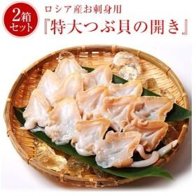 【緊急お助け!】 訳あり お刺身 貝 送料無料 つぶ貝の開き 大型サイズ 500g (11〜15個入り) 専用の箱入り×2箱セット 冷凍