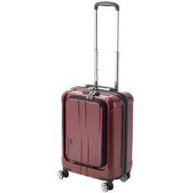 フロントオープン スーツケース/キャリーバッグ 〔レッドヘアライン〕 35L 機内持ち込みサイズ 『アクタス ポライト』〔代引不可〕【配達日時指定不可】