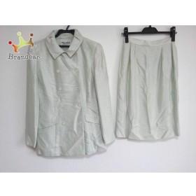 ミスアシダ miss ashida スカートスーツ サイズ7 S レディース ライトグリーン×白 肩パッド       スペシャル特価 20190613