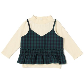 Tシャツ - petitmain ギャザーフリルキャミソールつきハイネックTシャツ