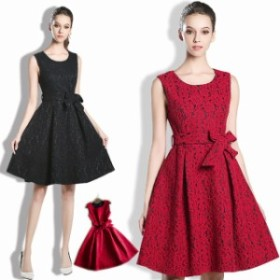 パーティドレス 結婚式ドレス 二次会 お呼ばれ 20代 30代 40代 ワンピース  ドレス ワンピース ひざ丈 ノースリーブ