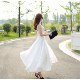 シフォンマキシ丈ドレス(ホワイト)春夏 リゾート ビーチ 海 パーティー お呼ばれ