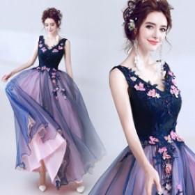 パーティドレス 結婚式ドレス 二次会 お呼ばれ 20代 30代 40代 ワンピース 秋冬新作 ウェディングドレス Vネック ノースリーブ 花