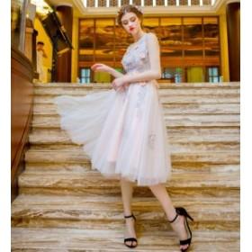 パーティドレス 結婚式ドレス 二次会 お呼ばれ 20代 30代 40代 ワンピース 秋冬新作 大きいサイズ 透け チュール 刺繍 フラワー