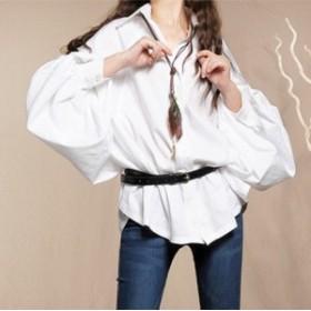 夏 夏新作 ボリューム袖ドルマンシャツ(ホワイト) 春夏 大人 かわいい ゆったり 彼シャツ