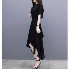 ベルト付きワンピース アシンメトリースカート 裾非対称 5分袖 フレアスリーブ ミモレ丈 結婚式 二次会 20代 30代
