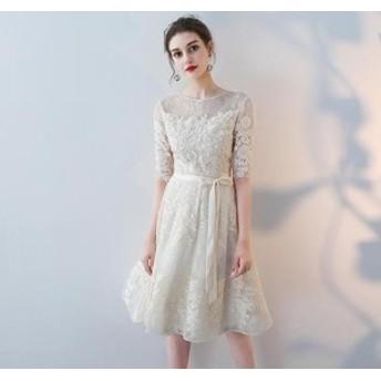 夏 夏新作 花柄レースAラインドレス(シャンパン)パーティードレス 膝丈 結婚式 お呼ばれ 二次会 袖あり