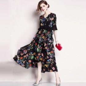 花柄フリルVネックドレス(ブラック)春夏 パーティー 演奏会 発表会