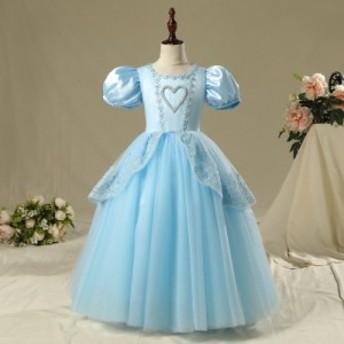 キッズ 女の子 ガールズ プリンセス ドレス ハロウィン プリンセスドレス 衣装 シンデレラ 風 3色
