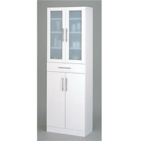 ガラス扉食器棚/キッチン収納 〔幅60cm×高さ180cm〕 ミストガラス使用 『カトレア』 大容量 〔組立〕【配達日時指定不可】