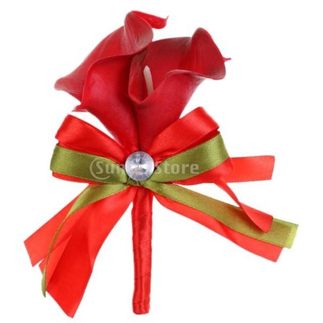 全8色 ファブリック カラ 百合 造花 結婚式 パーティー 人工花 ブートニア コサージュ ブローチ - 赤