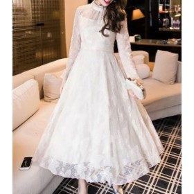 夏 夏新作 シースルー袖レースドレス(ホワイト) 春夏 結婚式 披露宴 ウエディング お呼ばれ