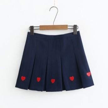 夏 夏新作 ハートがかわいい ミニ丈プリーツスカート(ネイビー)春夏 お出かけ 双子コーデ