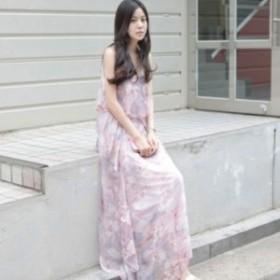 花柄シフォンマキシワンピース(ピンク) 春夏 ビーチ 海 リゾート お呼ばれ 女子会