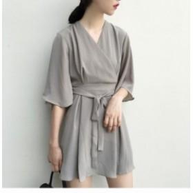 夏新作 夏服  ワンピース ショート ミニ丈 五分袖 ゆったり ルーズ シフォン フリーサイズ 無地 シック