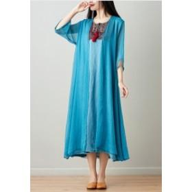 夏新作 夏服  ワンピース ロング マキシ丈 大きいサイズ 五分袖 透け フレア 刺繍 タッセル エキゾチック