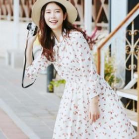花柄ボウタイワンピース(ホワイト) 春夏  大人 かわいい カジュアル OL