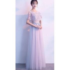 パーティドレス 結婚式ドレス 二次会 お呼ばれ 20代 30代 40代 ワンピース  ケープ風 花柄 レース フロント リボン