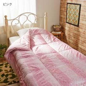 布団 掛け布団 羽毛布団 増量羊毛100%掛け布団 ピンク