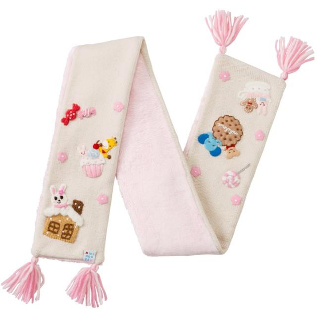 ミキハウス 編みモチーフ付きマフラー ピンク