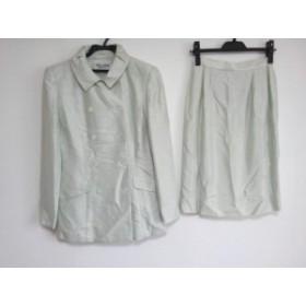 ミスアシダ miss ashida スカートスーツ サイズ7 S レディース ライトグリーン×白 肩パッド【中古】