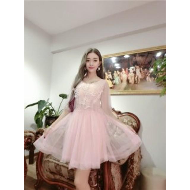 ヴェールミニドレス(ピンク)パーティドレス 結婚式 二次会 お呼ばれ 春夏 かわいい