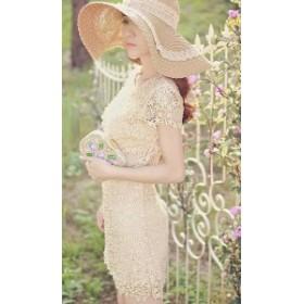 夏新作 夏服 パーティドレス 結婚式ドレス 二次会 お呼ばれ 20代 30代 40代 ワンピース  花柄 レース と パール 華やか ワンピース