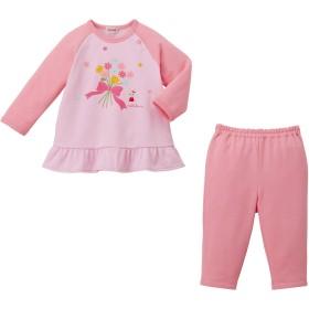 ミキハウス お花うさこ ミニ裏毛パイルパジャマ ピンク