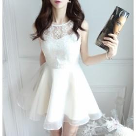 夏 夏新作 花柄レースノースリーブドレス(ホワイト) 結婚式 パーティドレス ワンピース 大きいサイズ