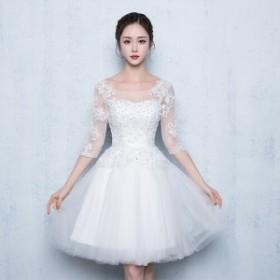 パーティドレス 結婚式ドレス 結婚式二次会 お呼ばれ ワンピース ワンピドレス 20代 30代 40代 袖あり