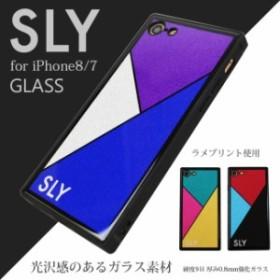 iPhone8 iPhone7 兼用 ケース ブランド SLY スライ 背面ガラスケース ラメ 薄型 かわいい おしゃれ スマホケース アイフォンケース