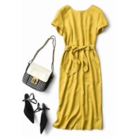 夏新作 夏服  ワンピース ロング丈 半袖 前スリット ベルト リボン トレンド感 おしゃれ 大人っぽい