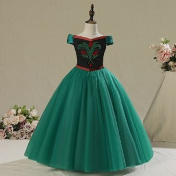 キッズ 女の子 ガールズ プリンセス ドレス ハロウィン プリンセスドレス 衣装 アナ 風