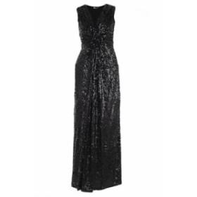 ドレス カジュアルドレス 結婚式用 レディース【Parosh Sequin Coated Sleeveless Dress】Nero