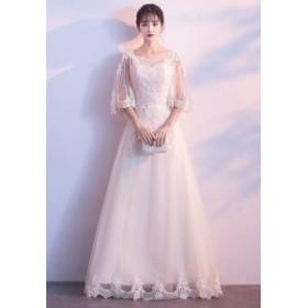パーティドレス 結婚式ドレス 二次会 お呼ばれ 20代 30代 40代 ワンピース  シースルー フレア 袖 花柄 レース