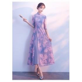 ハイネック花柄刺繍ドレス(パープル)春夏 結婚式 二次会 パーティー ウエディング
