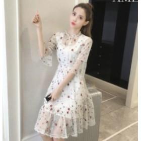 花柄刺繍シースルーワンピース(ホワイト)春夏 女子会 パーティー お呼ばれ デート