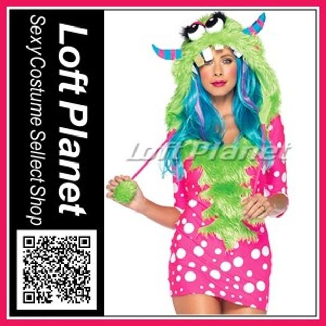 カラフル・モンスター ピンク&ライムのアニマル衣装 ハロウィンのコスプレ 仮装レディース・コスチューム3点セット M1-N4438
