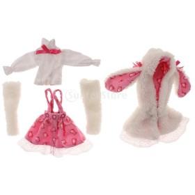 ノーブランド品 布 ぬいぐるみ製 1/6 BJD SD BB人形 用 5個 ウサギの耳のコート 長袖シャツ ス カート ストッキング 服セット 女の子 ギフト